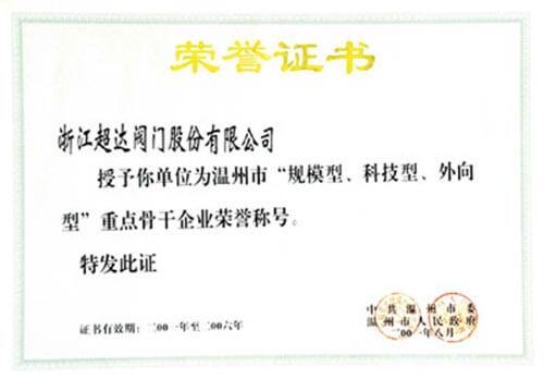 """温州市""""规模型、科技型、外向型""""重点骨干企业荣誉称号"""